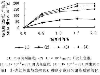 虾青素和维生素C的抗脂质过氧化比较